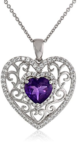 Sterling Silver Heart Shape Amethyst Round Created White Sapphire Heart Pendant Necklace, 18