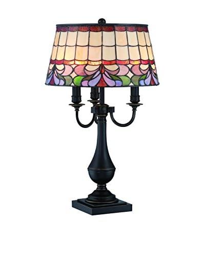 Lite Source Thasos 3-Light Table Lamp, Dark Bronze/Tiffany