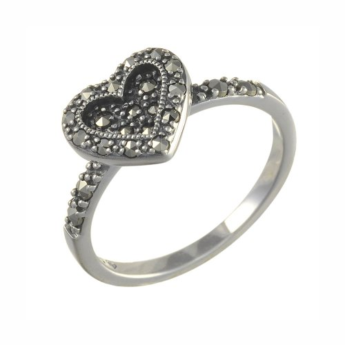 Esse-Marcasite-Sterling-Silver-Vintage-Sweet-Heart-Ring-with-Marcasite-Size-L