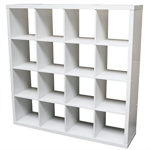 KMH®, Schöner Raumteiler mit 16 Fächern (MDF / weiss) (#800029)