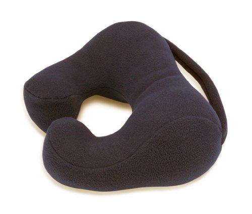 Sunshine Pillows Ergonomic Travel Neck Pillow, Comfortable Neck Support, Black, Large