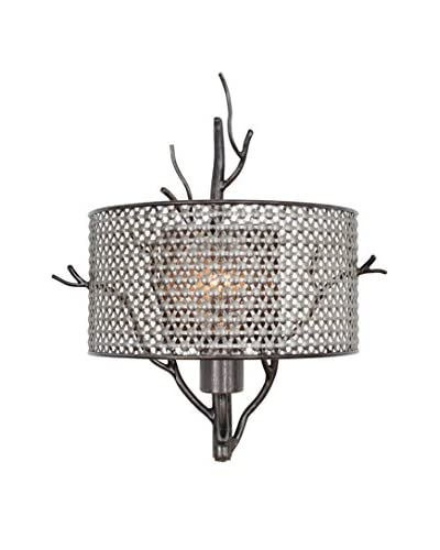 Varaluz Treefold 1-Light Wall Sconce, Steel With Recycled Steel Mesh