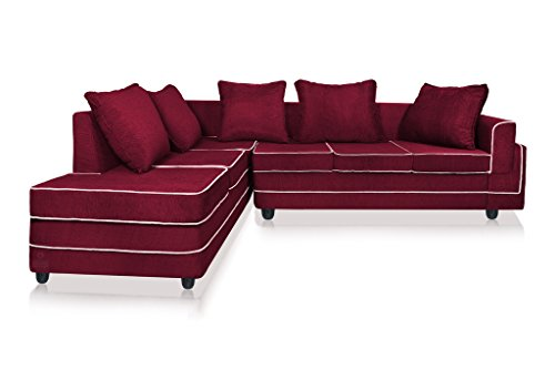 Dolphin CARDIFF L-Shape-Left Fabric Sofa-Maroon
