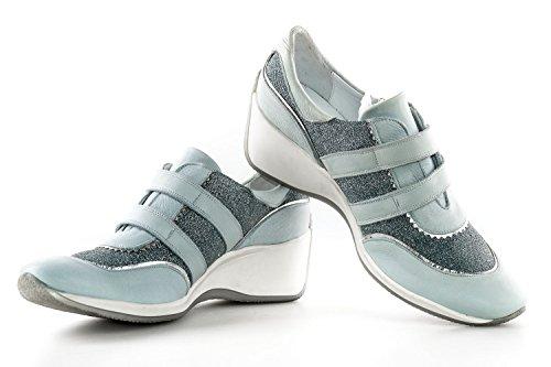 Scarpe donna FRU.IT N.40 azzurro sneakers in pelle e tessuto con zeppa X2477
