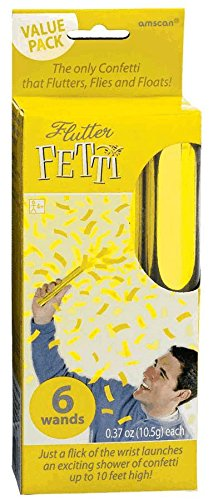 "Amscan Cheery Flutter Fetti Wands Value Pack (6 Count), 6"", Gold"