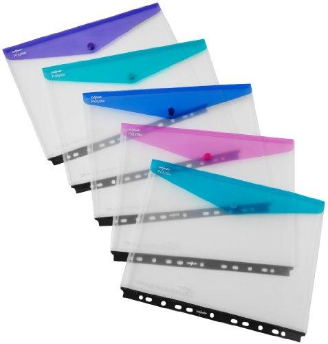 Snopake Polyfile 15694 Klarsichthüllen für Ringordner, A4, Klappe mit Druckknopfverschluss, Querformat, Electra-Farben, 5Stück