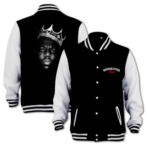Biggie Smalls Brooklyns Finest Notorious Big. Hip Hop Music Mens Varsity Jacket Size:XS Color:Black