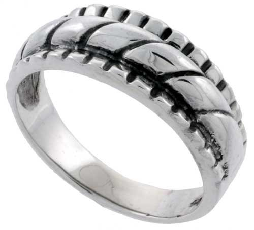 Sterling Silver Rope Design Wedding Band Ring, size 9