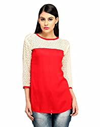 Snoby Stylish White and Red Polyester Top (SBY1016)