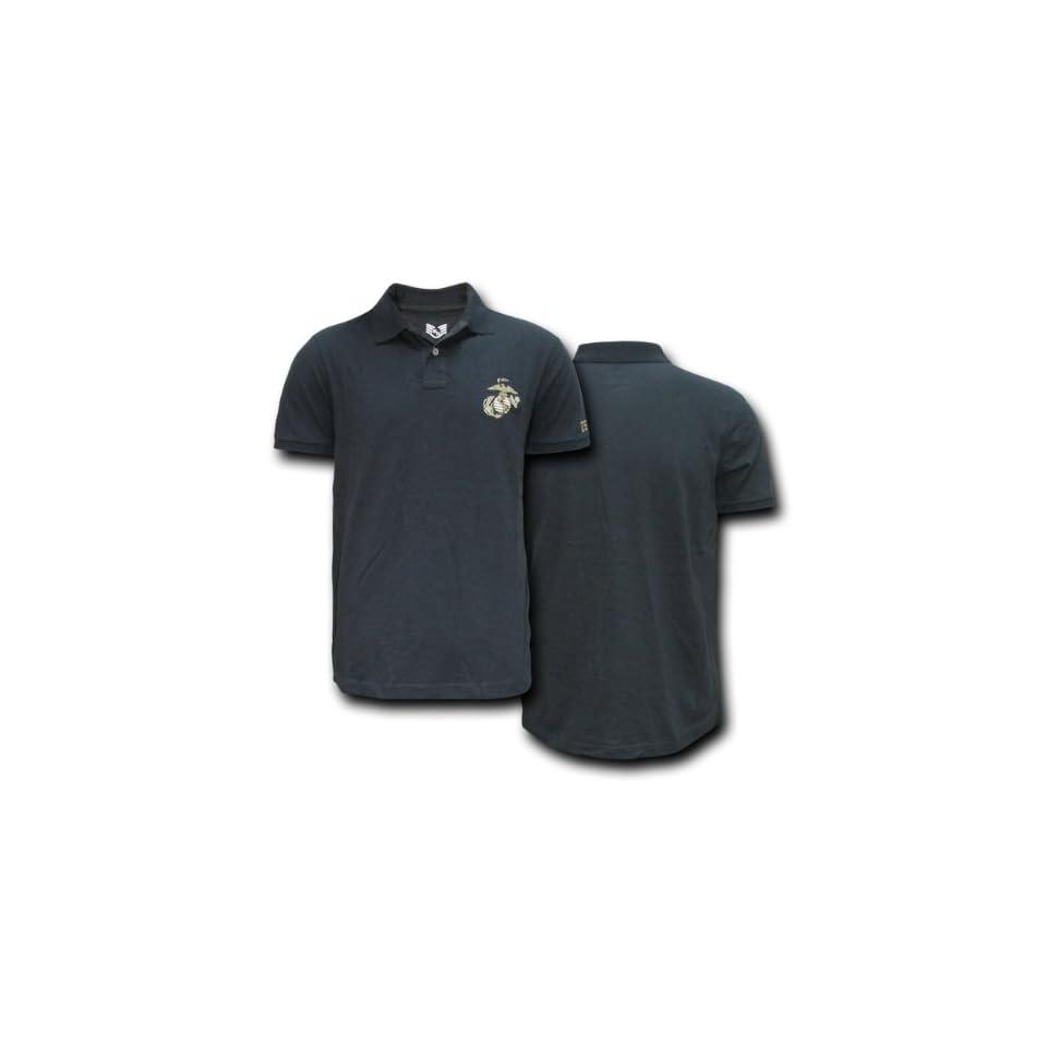 Rapid Dominance Genuine US Marines Black Lightweight Choice Polo Shirt   Black, Large