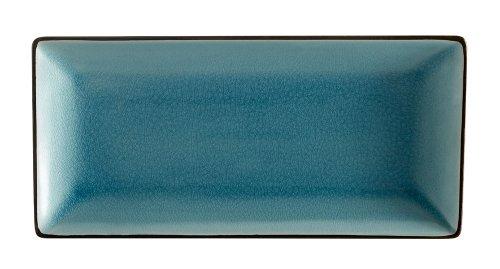 CAC China 666-13-BLU Japanese Style 11-1/2-Inch by 6-1/2-Inch Lake Water Blue Rectangular Platter, Box of 12