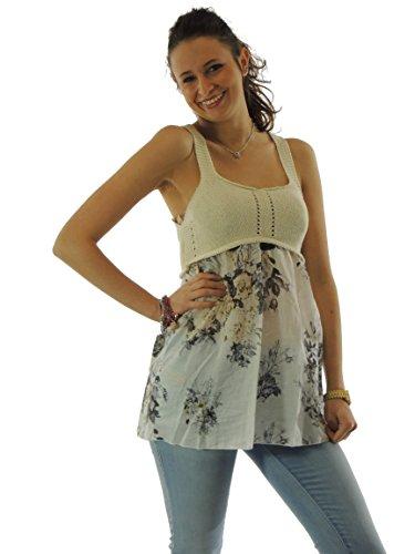 Canotta donna Twin-Set in seta con parte superiore in maglia di cotone 522W avorio XS