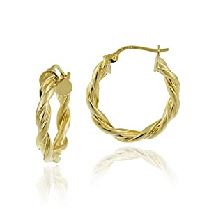 18k Yellow Gold Plated Sterling Silver 3x20 Twist Clicktop Hoop Earrings