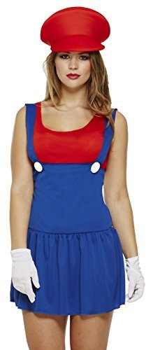 Mario Ladies Lady Workman Plumber Fancy Dress Costume Outfit - Size 8 to 10