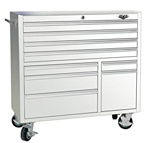 Viper Tool Storage V4109WHR 41-Inch 9-Drawer 18G Steel Rolling Tool Cabinet, White at Sears.com