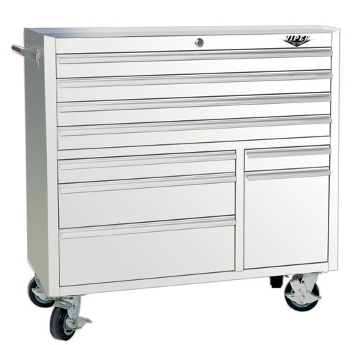 Images for Viper Tool Storage V4109WHR 41-Inch 9-Drawer 18G Steel Rolling Tool Cabinet, White