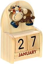 Vaca : Hechos a mano calendario perpetuo de madera. Diversión peculiar de Navidad o idea del regalo de cumpleaños. Presente Comercio Justo (tamaño 10,5 x 7 x 3,5 cm)