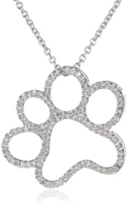 Silver and Diamond Dog Paw Pendant Necklace (1/20 cttw, I-J Color, I3 Clarity), 18