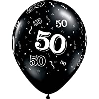 "11"" 10 Around 50th Onyx Black (10/b Latex Balloons (10 Per Package) from Qualatex"