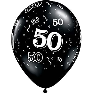 """11"""" 10 Around 50th Onyx Black (10/b Latex Balloons (10 Per Package) from Qualatex"""