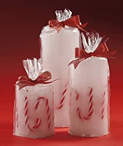 Set of 3 LED Candy Cane Candles Christmas Table Decor Candlelights
