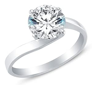 Size 4 - Solid 14k White Gold Classic Traditional Cross Over Round Brilliant Cut Solitaire Highest Quality CZ Cubic Zirconia Engagement Ring 1.0ct.
