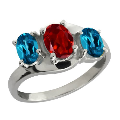 2.00 Ct Oval Red Garnet and London Blue Topaz Sterling Silver Ring
