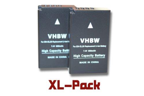 2 x vhbw Akku Set 850mAh (7.4V) für Kamera Nikon Nikon 1, 1 J1, 1 J2, 1 J3, 1 S1, 1 AW1, 1 V3, CoolPix A wie EN-EL20, EN-EL20a.