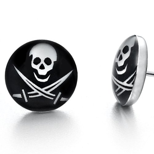 Biker Mens Stainless Steel Pirates Skull Stud Earrings