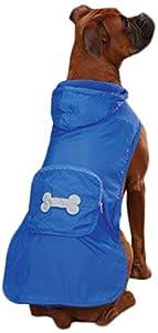 Casual Canine Fleece Lined Stowaway Rain Jacket, XX-Small, Blue