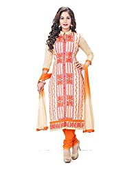 PShopee Orange Cotton Embroidery Unstitched Multistylist Dress Material