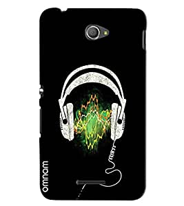 Omnam Printed Headphones with Black Background Backcover for Xperia E4