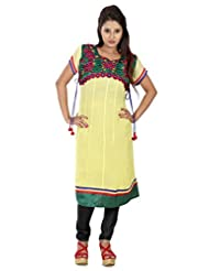 B3Fashion Bright Lemon Yellow Georgette Kurti With Beautifullly Embroidered Yoke In Green