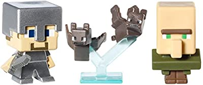 Minecraft Collectible Figures Bats, Steve with Iron Armor and Villager 3-Pack, Series 2 by Mattel