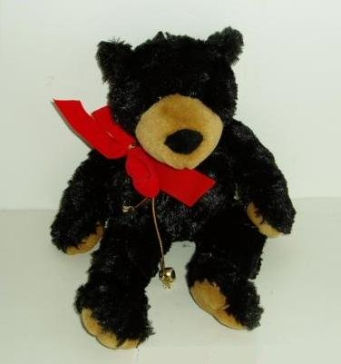 Plush Bean Bag Black Bear with Red Bow & Bells 11.5""