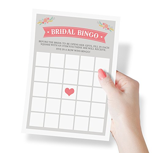 Bridal Shower Bingo Game | Wedding and Bridal Shower Favors, Activities, Games, and Decorations | 50 Sheets