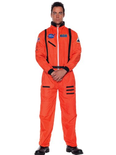 Teen NASA Astronaut Costume Jumpsuit Hero Orange Space Man Capt Theatrical Mens
