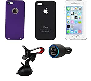 NIROSHA Tempered Glass Screen Guard Cover Case Headphone Mobile Holder for Apple iPhone 5 - Combo
