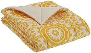 Northpoint Bauhaus Quilted Printed Mink Throw, Yellow Suzanne, 50 x 60 Inch