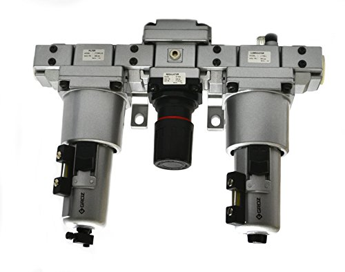 "Groz 60584 Air Filter - Regulator - Lubricator, Modular 3 Piece, Metal Bowl, Standard - 1"" NPT , 175 CFM"