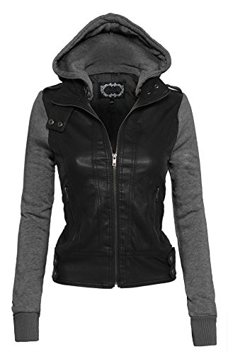 Women's Zip Up Faux Leather Motorcycle Jacket with Inset Fleece Hood and Sleeves