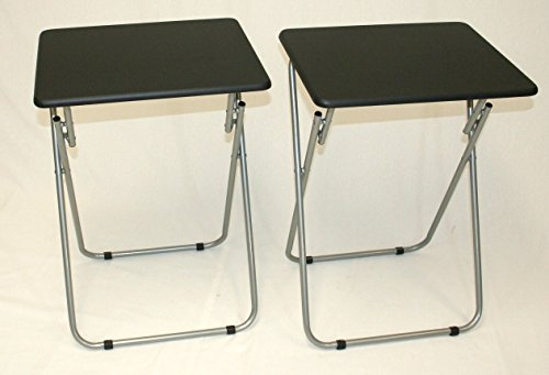 eHemco Set of 2 Folding Tv Trays Tv Tables - Black Tops (Kids Metal Tv Tray compare prices)