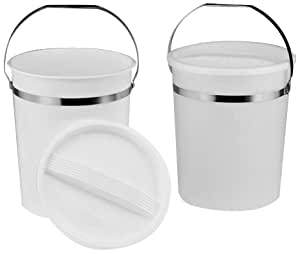 """Bel-Art Scienceware 167750000 Polypropylene Pail with Lid, 8qt Capacity, 8"""" ID x 10"""" Height, Natural"""