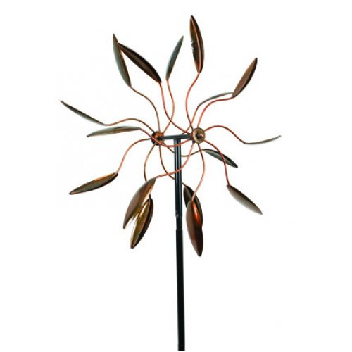 Extra Large Metal Wind Spinner Garden Stake, 80-inch, Copper Finish, Outdoor
