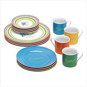 16 PC VIBRANT COLORED PICASSO DINNERWARE SET