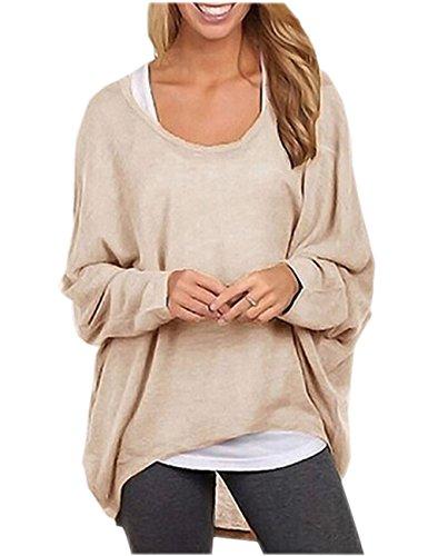Ninimour Donna Maglia a Manica Lunga Cardigan Asimmetrico Camicia Pullover Camicetta Superiore (Large, Beige)