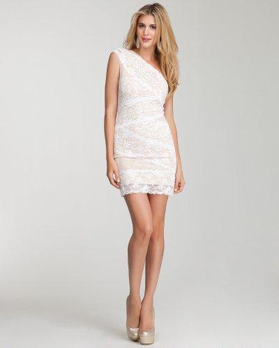 Bebe One Shoulder Mixed Lace Dress White Size Medium