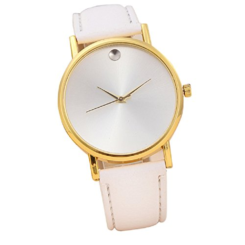 Sannysis(Tm) 1Pc Luxury Retro Design Leather Band Analog Alloy Quartz Wrist Watch (White)