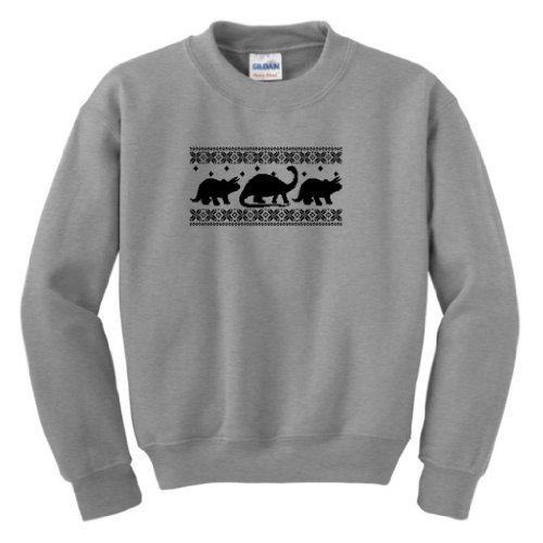 Dinosaur Pattern Faux Ugly Christmas Sweater Youth Crewneck Sweatshirt Small Sport Grey