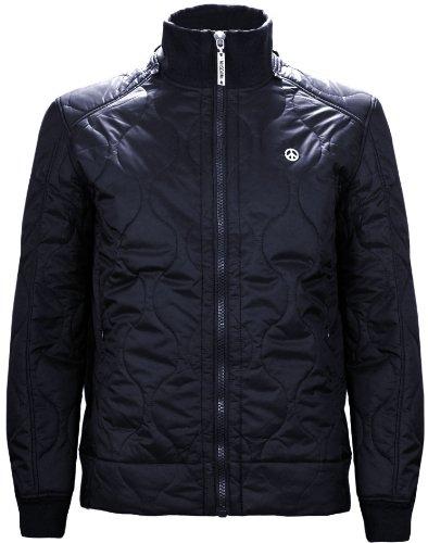 Moschino Men's Quilted Hooded Jacket Dark Navy Blue (Medium)